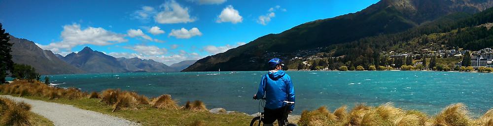 Cycling on the path around Lake Wakatipu
