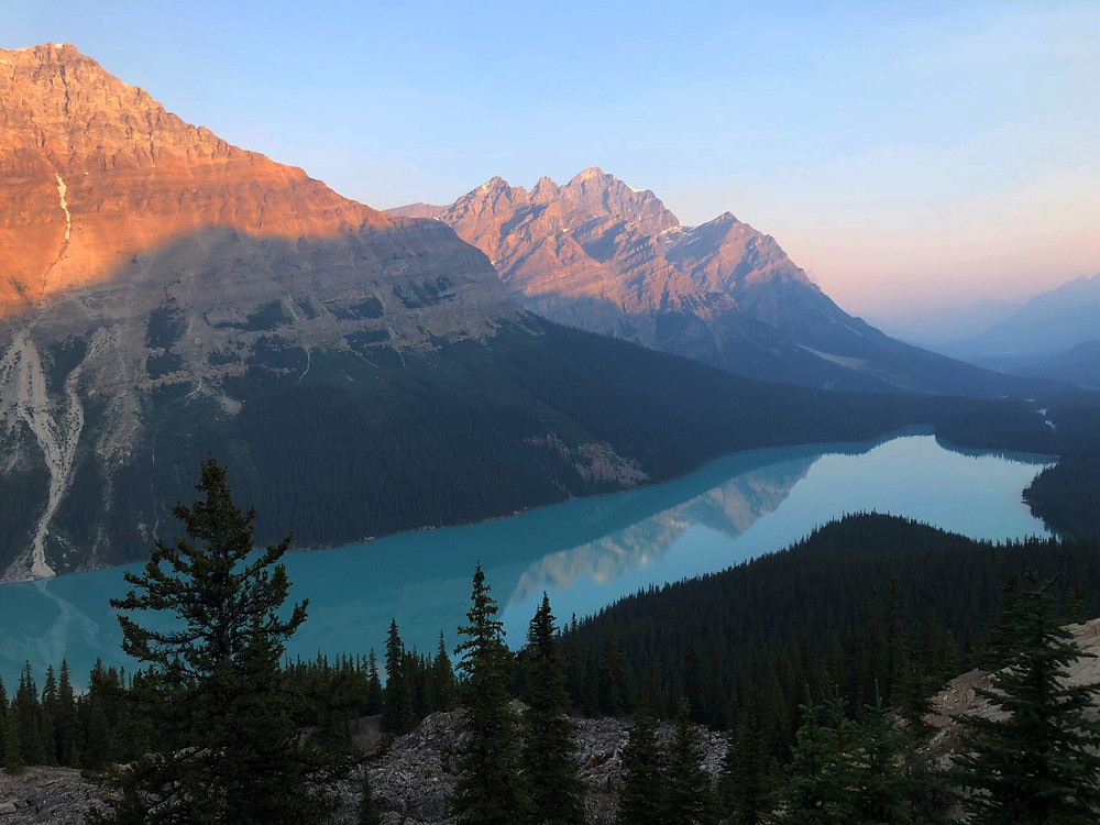 Peyto Lake Overlook at sunrise - photo credit: www.paradoxtravels.com