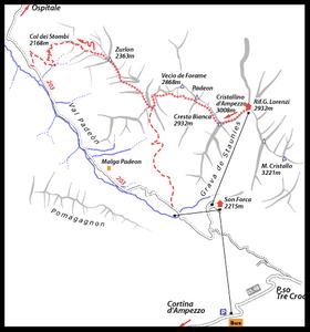 Ivana Dibona Via Ferrate Map - Dolomites