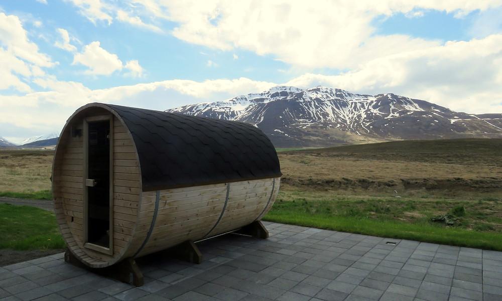 Outdoor sauna at Bjorbodin Spa, Iceland