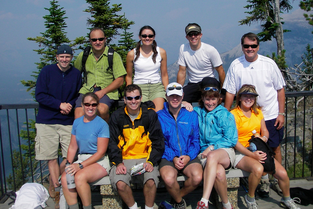 Our motley crew after hiking to the top of Sulfur Springs Gondola. A mixed crew of competative, recreational & 'off-the-couch' cyclists.