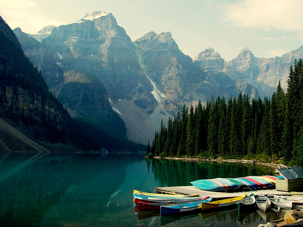 Moraine Lake - worth getting up early to avoid tour bus traffic