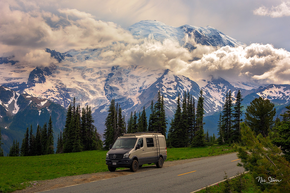 Paradox Travel - Our Mercedes Sprinter van at Rainier National  Park - see complete road trip itinerary at www.paradoxtravels.com   photo courtesy of Nic Stover Photography