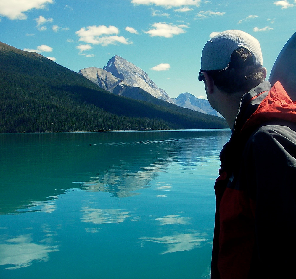 Glacial waters of Maligne Lake - boat tour