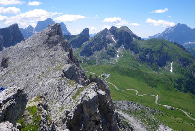 The Dolomites - Looking down into Forcella Falzarego and Giau from Nuvolau
