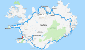 Our Ring Road route - but it didn't include all the extra miles we didn't think about