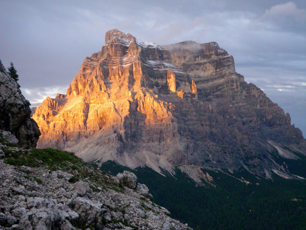 The Dolomites - Photo: Jen Stover, Paradox Travel  Our sunset view of Mount Pelmo from Refugio Coldai   See our complete hut trekking itinerary at www.paradoxtravels.com