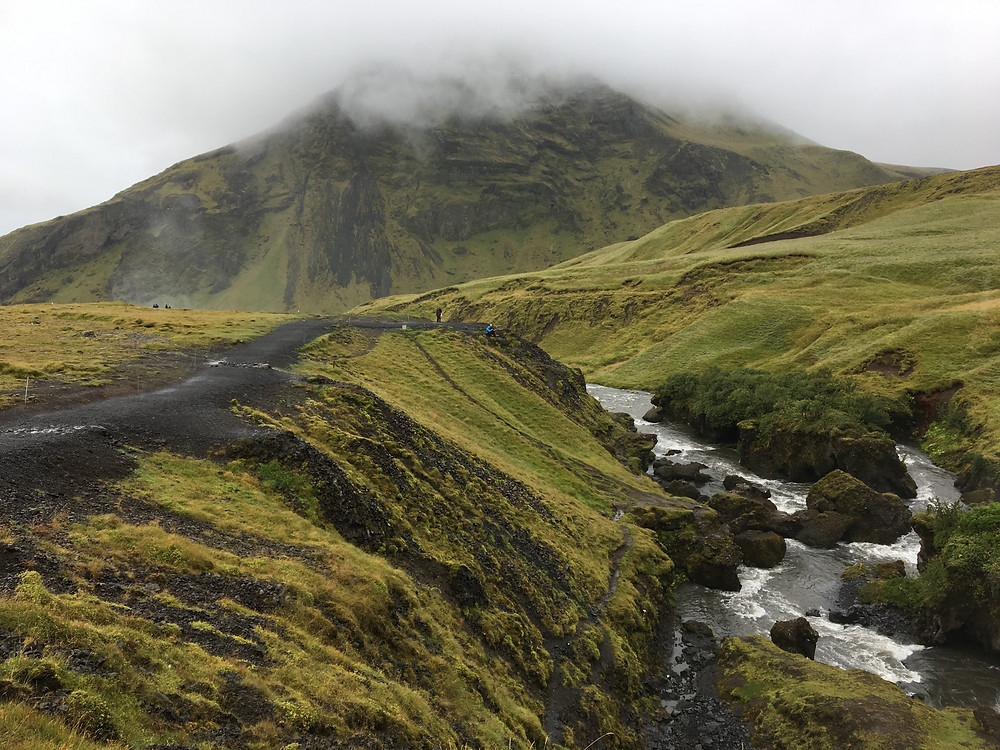 Above Skogafoss, Iceland - you can hike 25k towards Thorsmork here when the trail is dry.   photo credit: Jen Stover