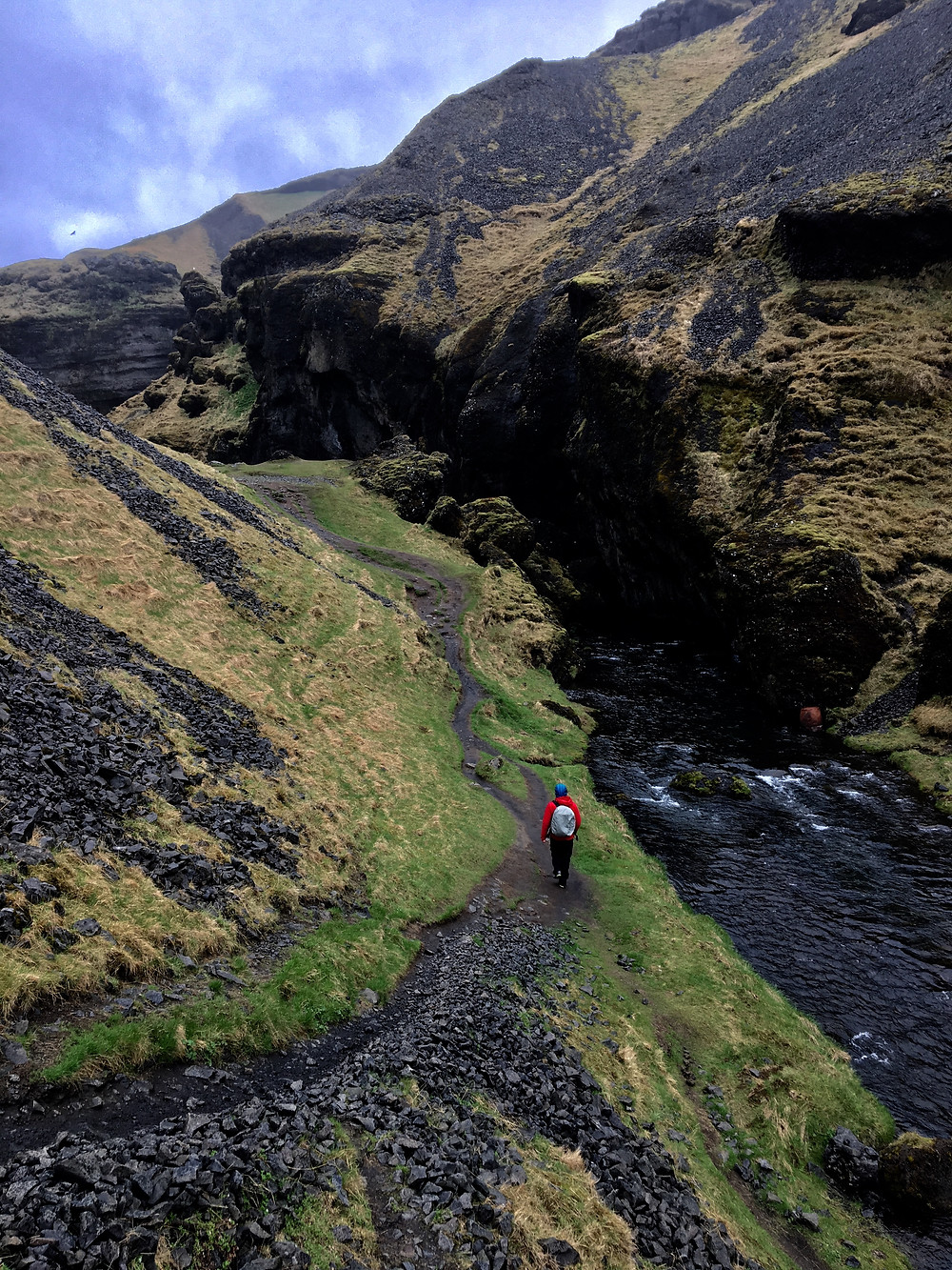 the short walk to the hidden waterfall next to Skogafoss , goes through a lush, green, volcanic valley     photo credit: Jen Stover