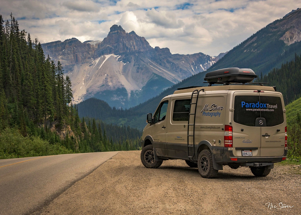 Mercedes sprinter Van road trip in the Canadian Rockies - Paradox Travel  See complete itinerary at www.paradoxtravels.com  Photo: Nic Stover Photography