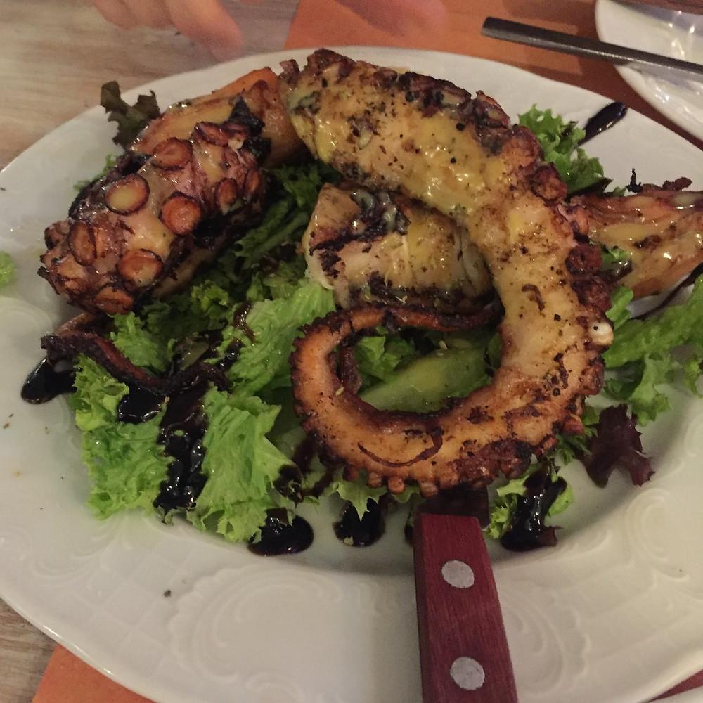 Grilled octopus at Nikolas Taverna, Mykonos  Photo: Jen Stover - Paradox Travel