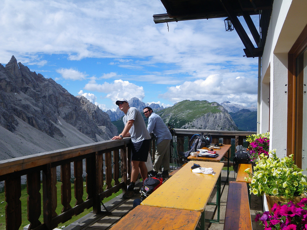The Dolomites- Paradox Travel - a stop for lunch with more amazing views.  See our complete hut trekking itinerary at www.paradoxtravels.com