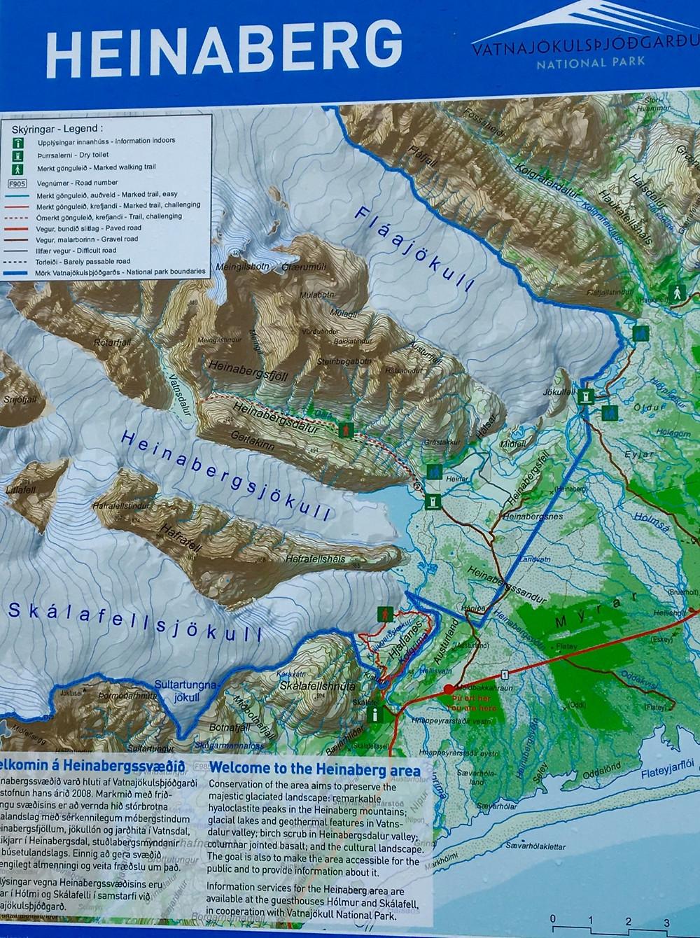 Map of the 3 major glaciers in Myrar area of Vatnajokulsjodgardur National Park