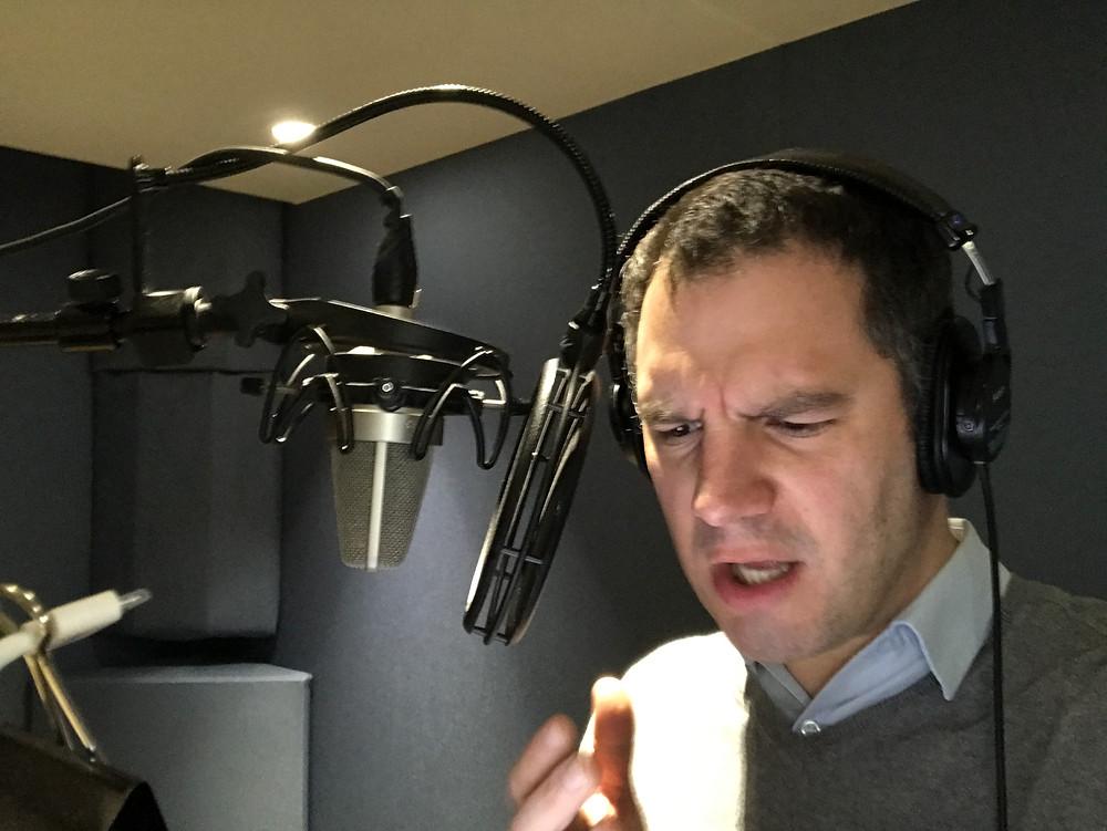 Actor William Sarris recording a killer VO