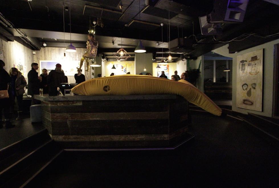 Banana lying on the bar