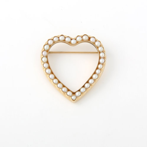 Heart Brooch with Pearls 14K Yellow Gold
