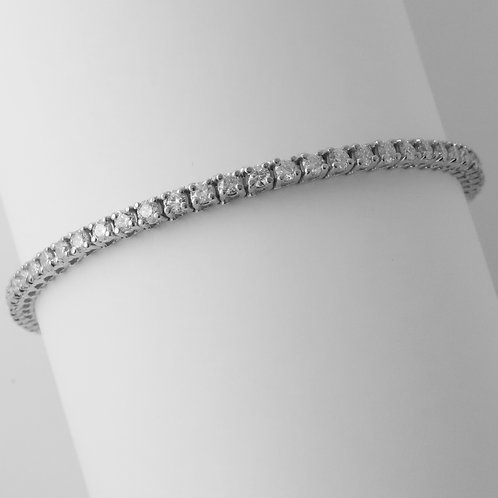 "Diamond Straight Line ""Tennis"" Bracelet/ 14K White Gold/ 3.50 Carats"