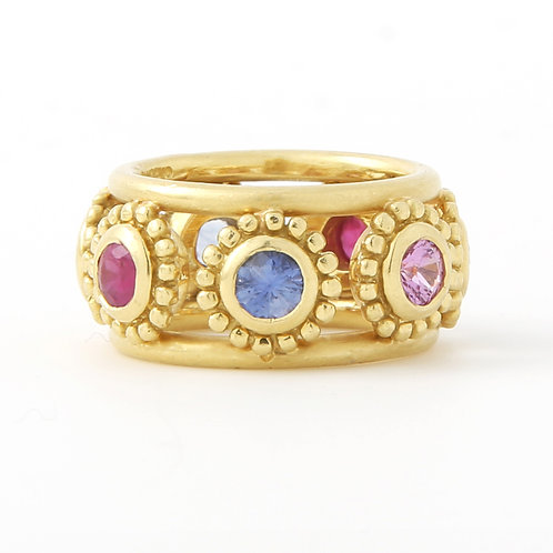 Adria de Haume Multi Color Sapphire Ring 18K Yellow Gold