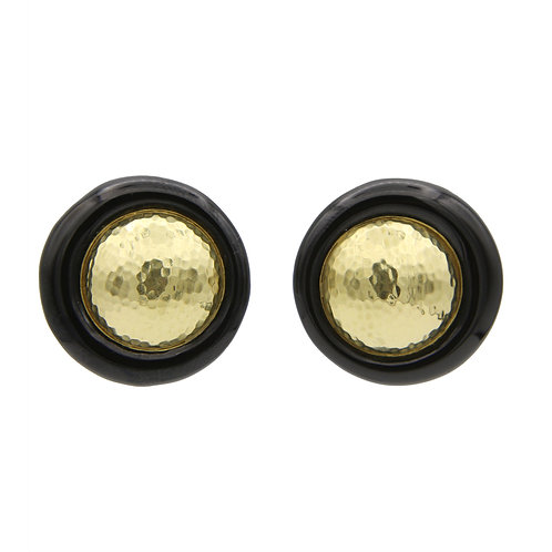 David Webb 18K Gold & Onyx Earrings