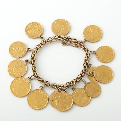 Multi-National Gold Coin Bracelet (14) 22k Coins
