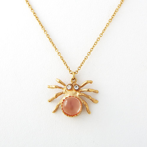 Anna Ruth Henriques Spider Pendant, Diamond/Moonstone, 18K Yellow Gold