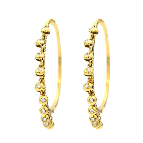 14K Hoops with Hanging Diamonds