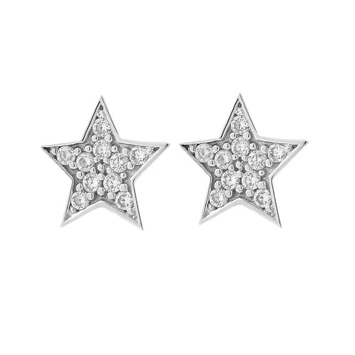 Five Point Star Diamond Stud Earrings, 14K White Gold