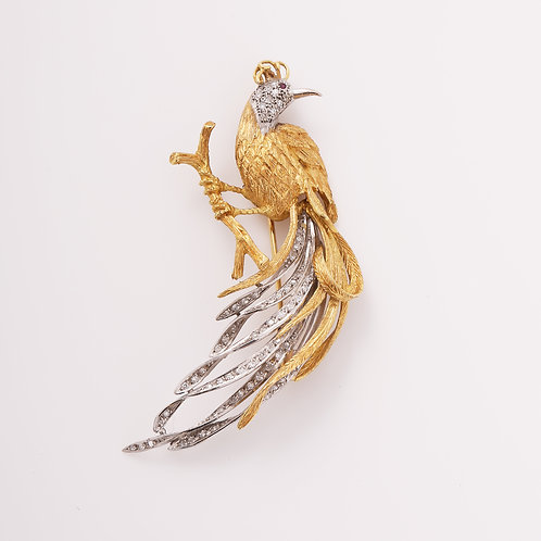 18K Yellow & White Gold & Diamond Peacock on Branch Brooch
