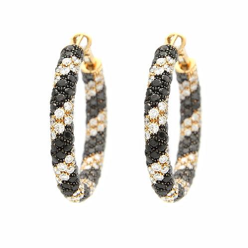Salavetti 18K Rose Gold Black/White Diamond Hoops