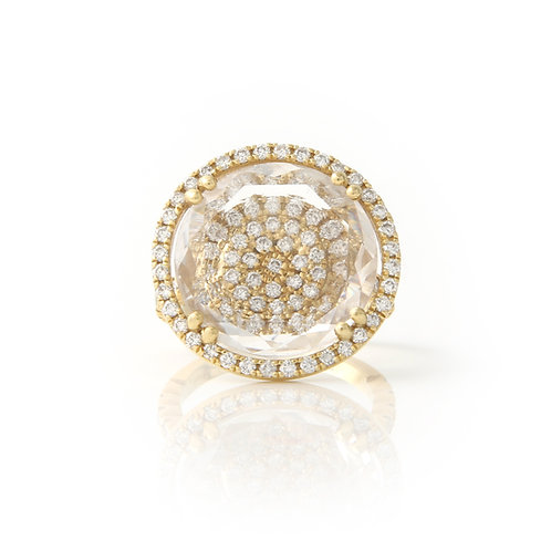 Faceted Circular Crystal & Diamond Ring, 18K Yellow Gold