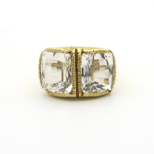 Chic 18K Yellow Gold, Large Double Beryl Ring