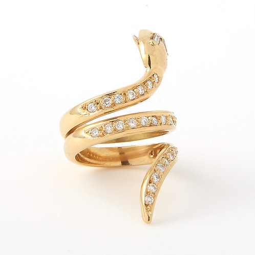 Snake Ring 18k Yellow Gold & Pave Diamonds
