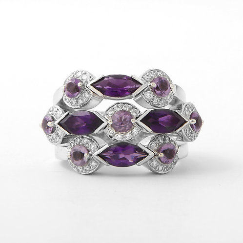 Amethyst & Diamond Statement Ring 18K White Gold