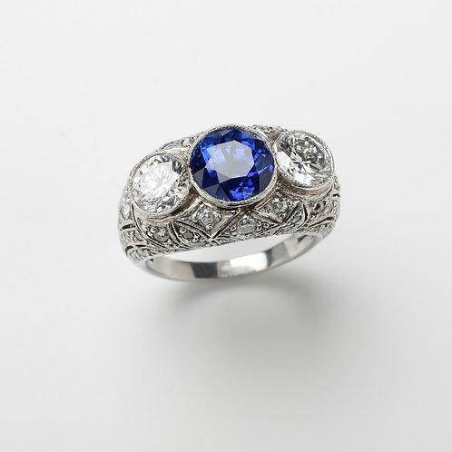 Art Deco Inspired Sapphire and Diamond 3 Stone Ring, Platinum