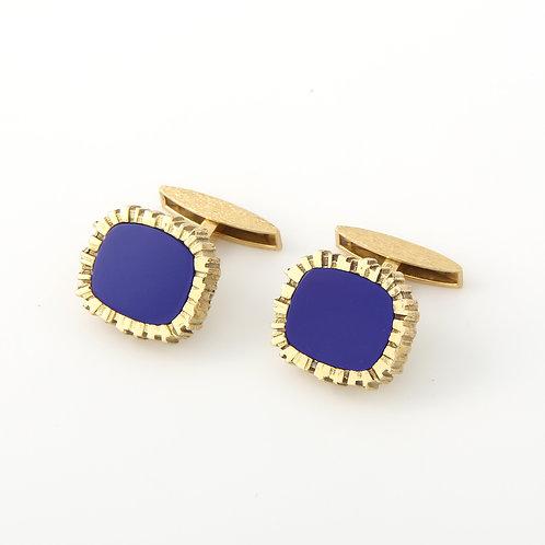 Cartier Cufflinks 18K Gold, Lapis Lazuli Inlay