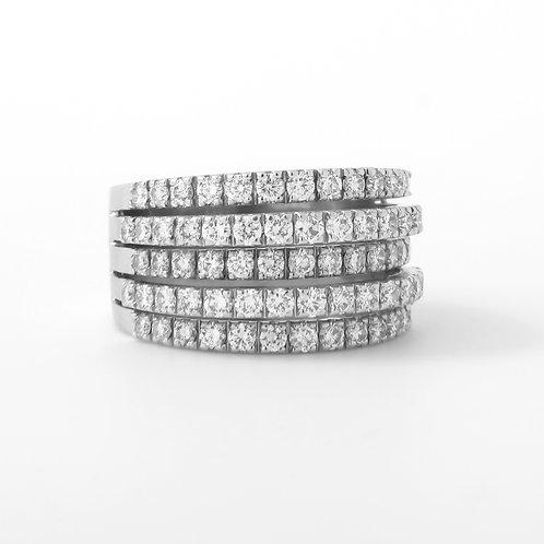 DeBeers 5 Line Diamond Ring with Diamond Pave