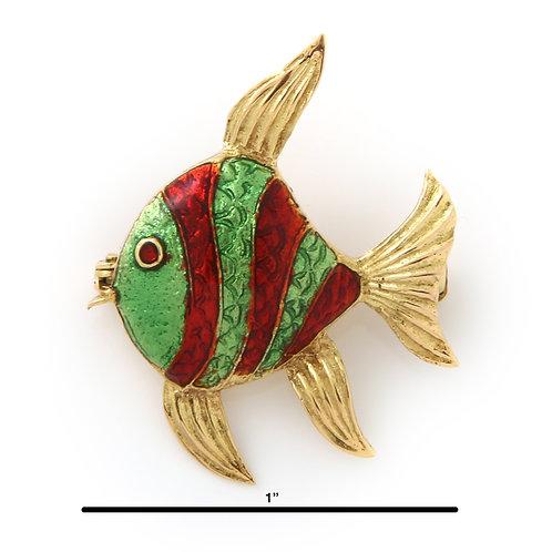 Vintage Fish Brooch, 18K Yellow Gold,  Enamel
