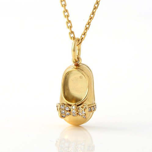 Baby Shoe Pendant, 18K Yellow Gold with Diamond Bow