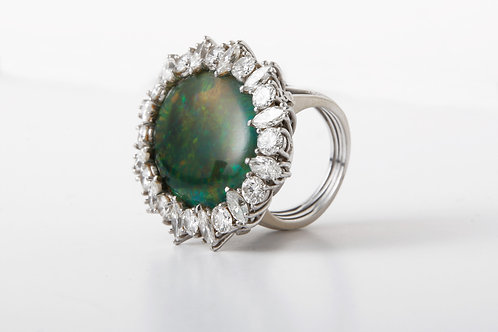 Large Vintage Opal and Diamond Ring.