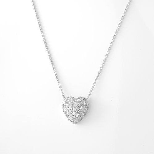 Diamond Pave Heart Pendant Platinum Approx. 1.50 CTTW
