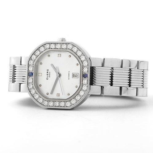 CLERC Ladies Octagonal Watch, SS w/ Diamonds & Interchangeable Straps