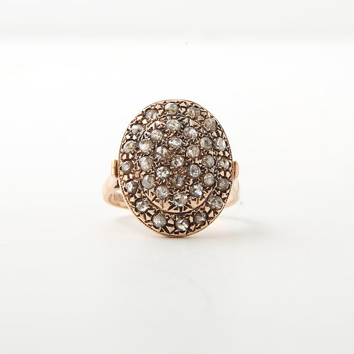 Contemporary Rose Gold, Oval Pave Top Champagne Rose Cut Diamond Ring