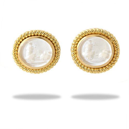 Elizabeth Locke White Venetian Glass Intaglio Earrings, 18K Yellow Gold, Posts/C