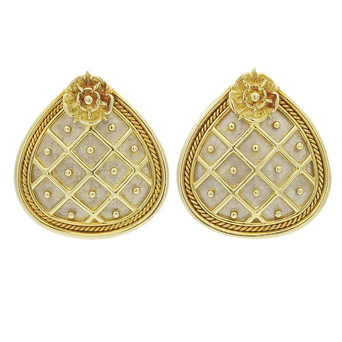 Elizabeth Gage Pineapple Earrings 18K Gold