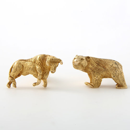 Bull & Bear Cufflinks 14K Yellow Gold