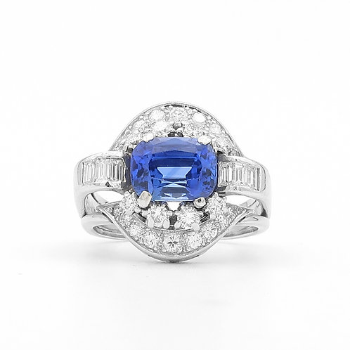 Mid-Century Platinum, East-West Sapphire & Diamond Cocktail Ring
