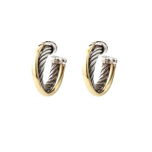 David Yurman Classic Cable Hoop Earrings 18k/Sterling