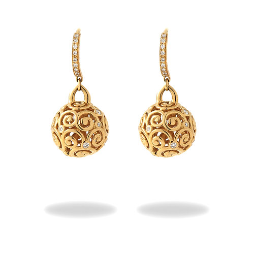 Temple St. Clair Large 18K Yellow Gold Lattice Spheres & Diamond Drop Earrings