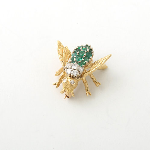 Vintage Bumble Bee Brooch, Diamonds and Emeralds,14K Yellow Gold