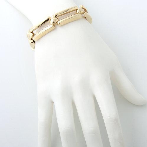 Contemporary Ladies Large Rectangular Link Bracelet 14k Yellow Gold